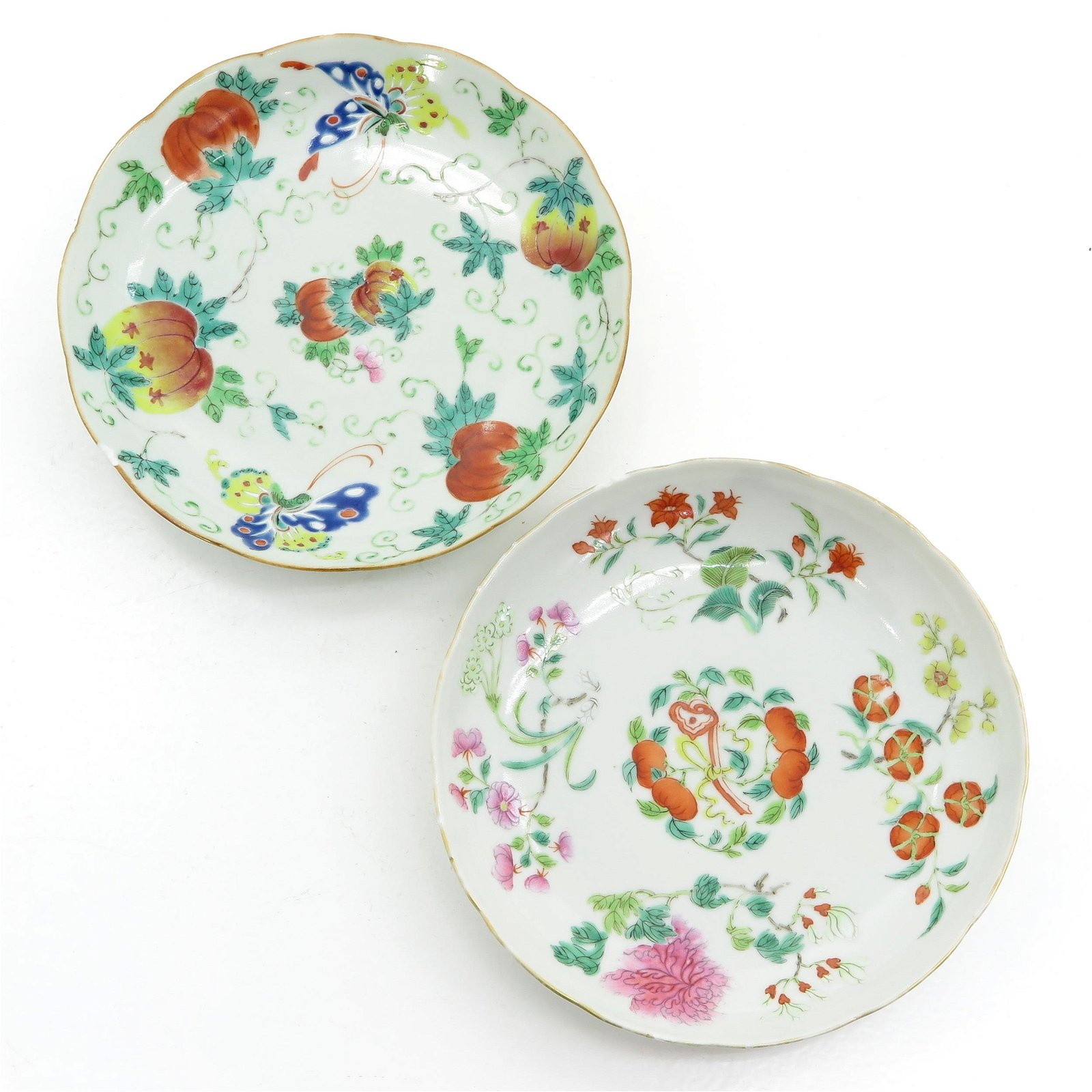 Two Chinese Polychrome Decor Plates