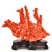 A Very Fine Carved Red Coral Sculpture