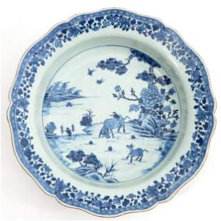 A Blue and White Wash Basin