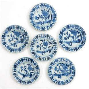 A Series of 6 Small Blue and White Plates