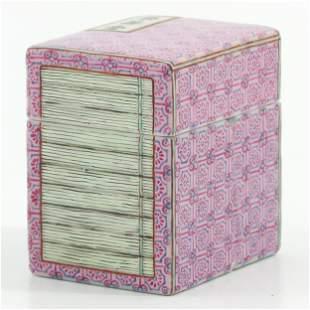 A Small Famille Rose Square Box