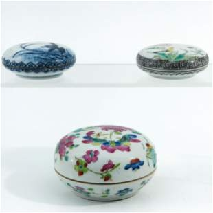 A Colletion of 3 Round Boxes and Covers