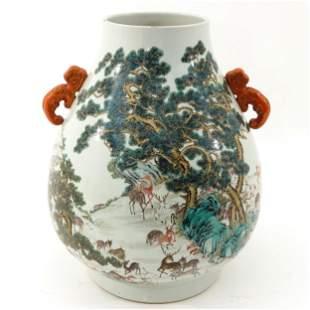 A 100 Deer Hu Vase