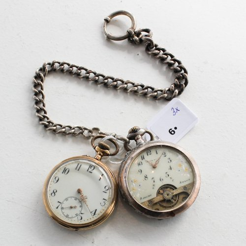 2 Pocket watches and Chain 14K Gold and Silver