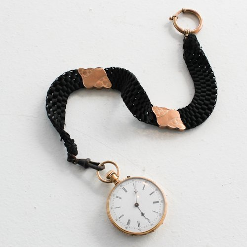 Biedemeier 14K Gold Watch with Chain