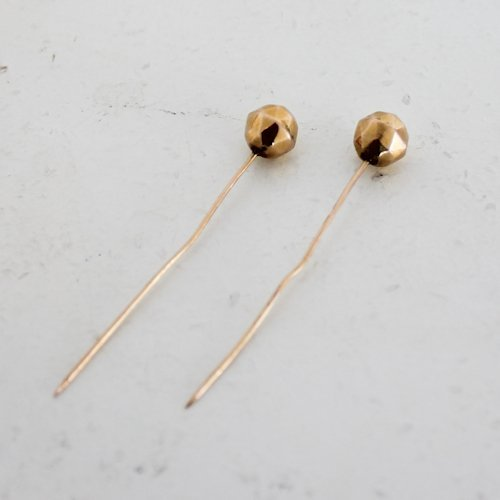2 14K Gold Antique Stick Pins