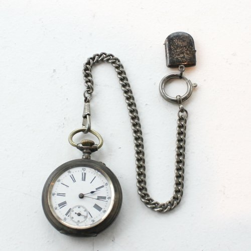 Antique Silver Pocket Watch & Chain