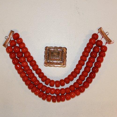 Volendam Red Coral Necklace 14K Gold Lockett