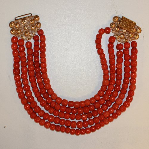 Red Coral Necklace with 18K Golden Clasp