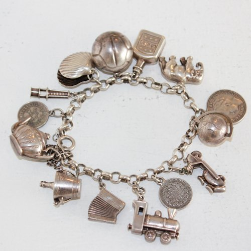 Silver Charm Bracelet with Silver Charms