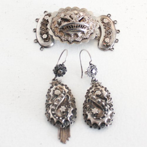 Lot of 19th Century Jewelry, Earrings and Clasp