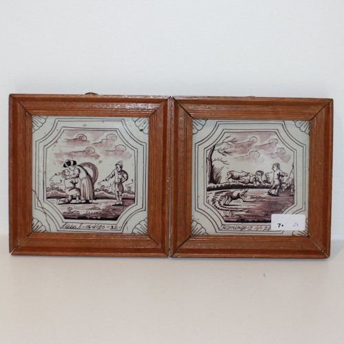Lot of 2 Dutch Antique Tiles in Frames