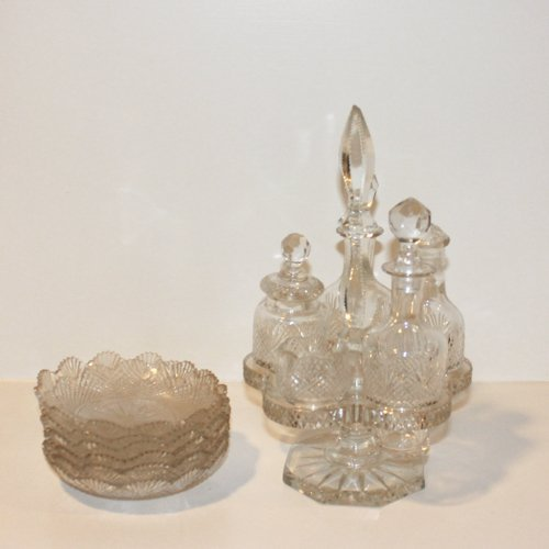 Lot of Antique Cut Crystal Cruet Set & Bowls