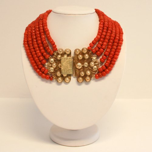 Six Strand Red Coral Necklace with 18KG Clasp