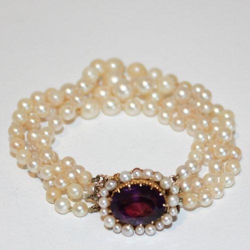 Four Strand Pearl & Amethyst Bracelet