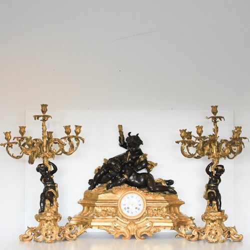 19th Cent. French Gilt & Bronze 3 Piece Clock Set