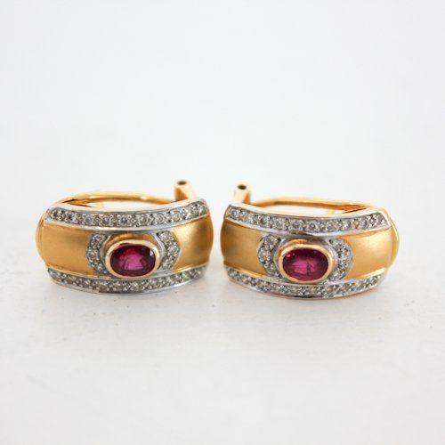 18 KG White & Yellow Gold Earrings, Diamonds & Rubies
