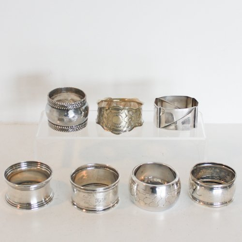 LOT OF 7 ASSORTED SILVER NAPKIN RINGS