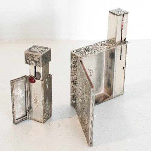Silver Lipstick Holder & Powder Box with Lipstick Case