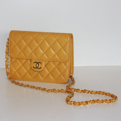 Yellow Leather Chanel Quilted Purse