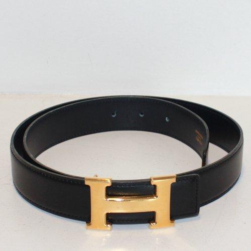 Black Leather Hermes Belt