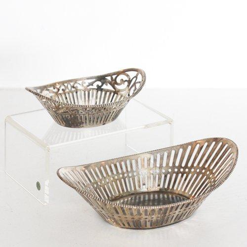 Lot of 2 Dutch Silver Bread Baskets