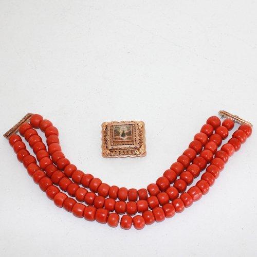 3 Strand Volendam Red Coral Necklace 14KG Clasp