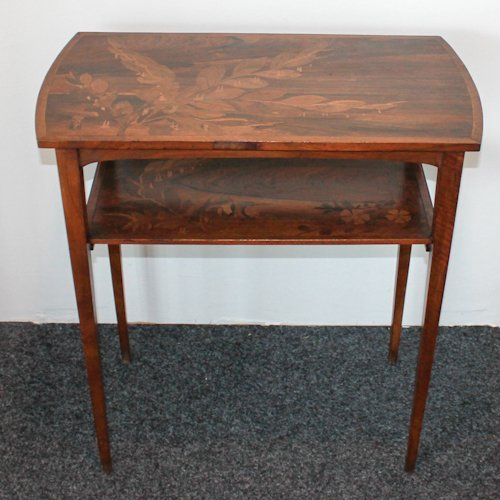 Signed Emile Galle Art Nouveau Marquetry 2 Tier Table