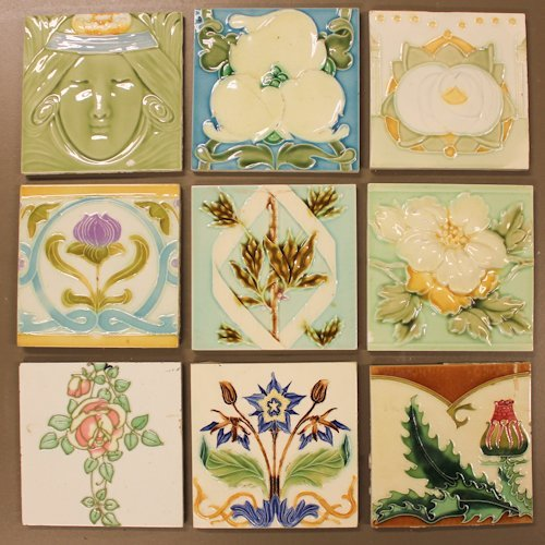 Assortment of 9 Art Nouveau Glazed Ceramic Tiles