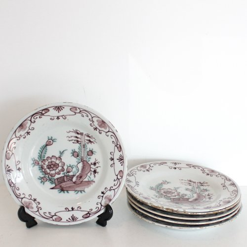 Lot of 6 18th Century Delft Mangaann Plates