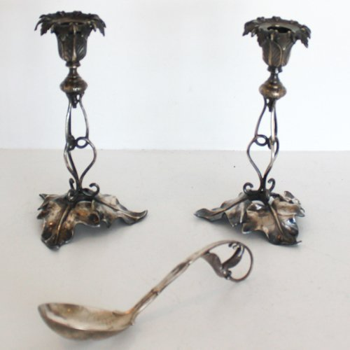 Pair of Silver Candlesticks and Nut Serving Spoon