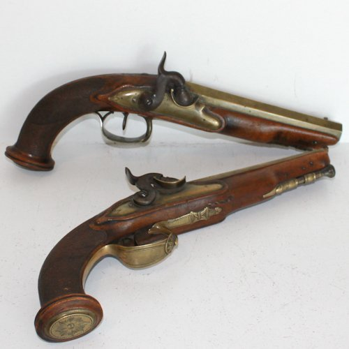 Pair of Antique Percussion Dueling Pistols