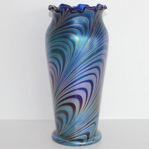 Loetz Blue Green Gold Iridescent Swirl Vase Phanomen