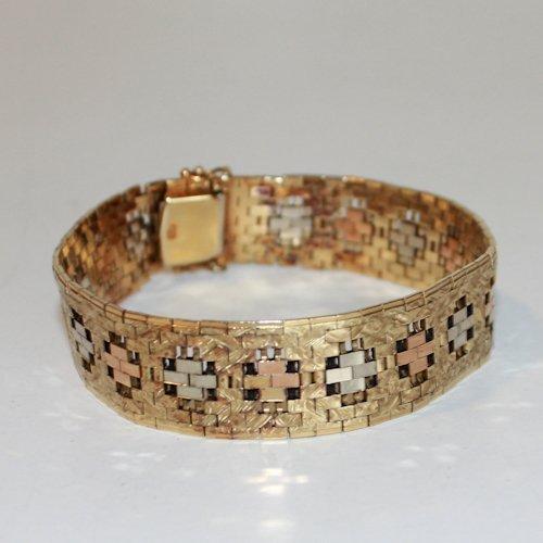 14KG Tri Gold Ladies Bracelet