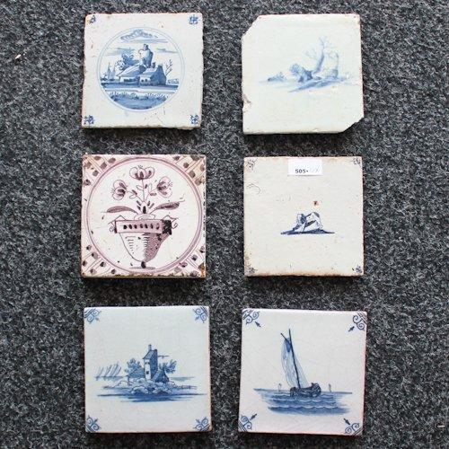 Lot of 6 Antique Dutch Tiles