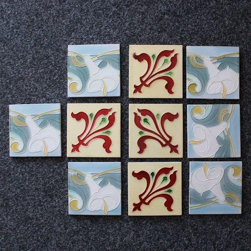 Lot of 10 Art Nouveau Tiles