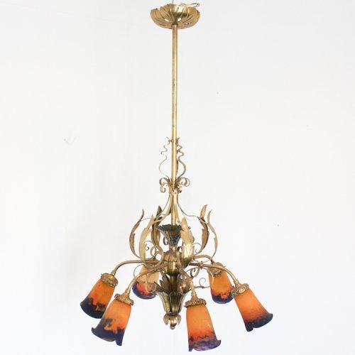 Signed Muller Freres Art Nouveau Chandelier