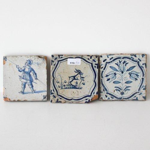Lot of 3 Antique 18th Century Tiles