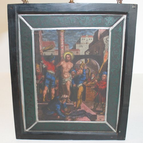 Antique Stained Glass of Religious Scene