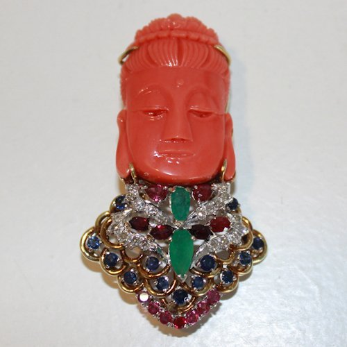 14KG Carved Red Coral Buddha Brooch with Gemstones