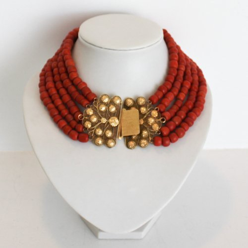19th Century 5 Strand Red Coral Necklace