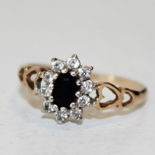 9KG Ladies Sapphire Ring with Crystals
