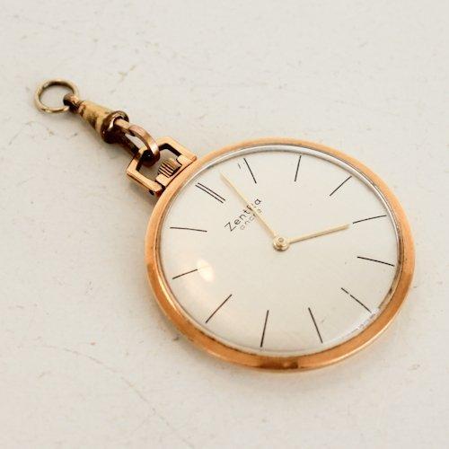 14KG Mens Zentra Pocket Watch