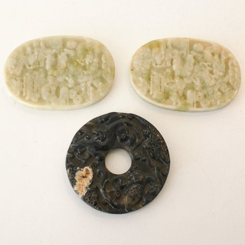 Lot of 3 Chinese Jade Plaques