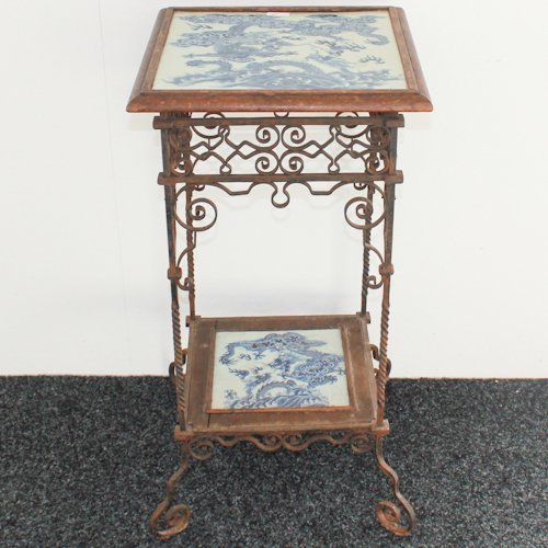 19th Century Chinese Cast Iron and Tile Table