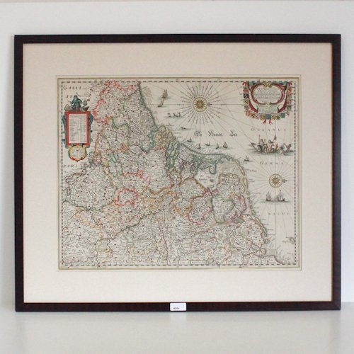 17th Century Hand Colored Map of Holland
