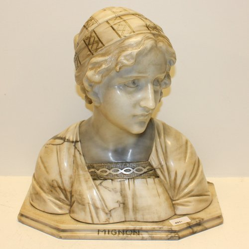 Marble Bust of Mignon Signed Prof Giuseppe Bessi