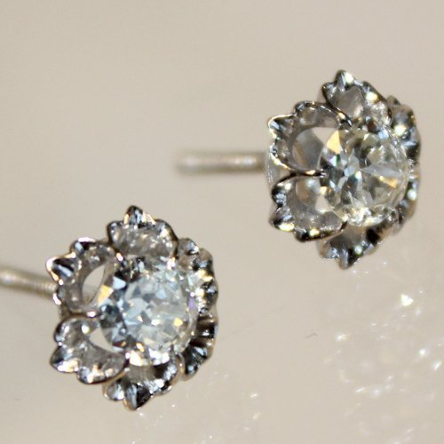 Pair of Solitaire Diamond Earrings 1.5 CTW