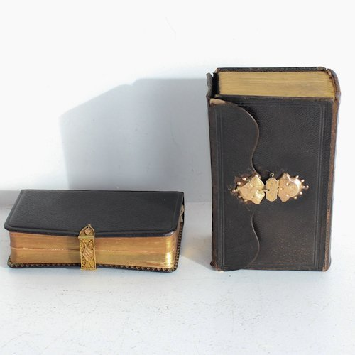Lot of 2 Bibles with Gold Lockers
