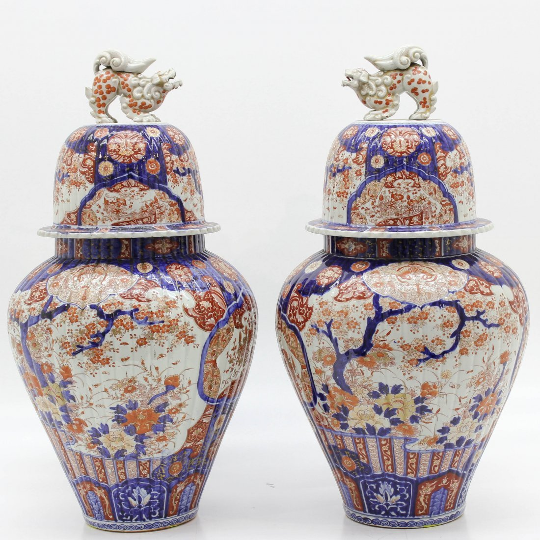 2 Rare 19th Century Japanese Lidded Baluster Vases